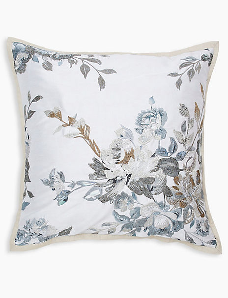 Florence Embroidered Floral Cushion