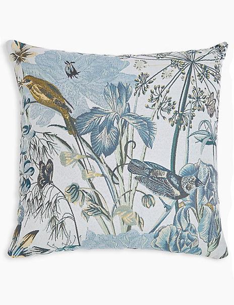 Jacquard Bird Print Cushion