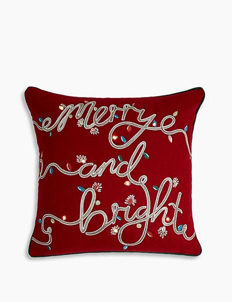 LED Light Up Merry & Bright Cushion