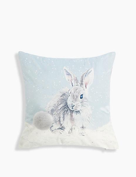 Winter Bunny Print Cushion