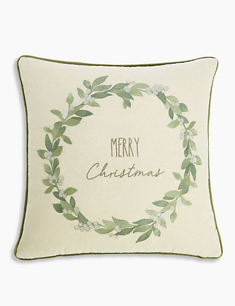 Merry Christmas Wreath Cushion