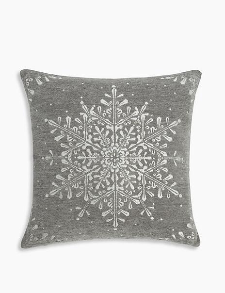 Chenille Snowflake Cushion