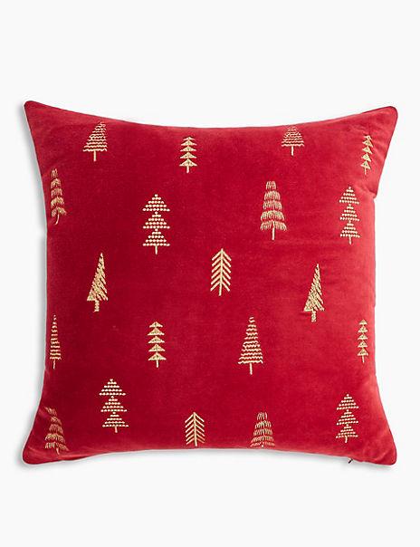 Velvet Tree Embroidered Cushion