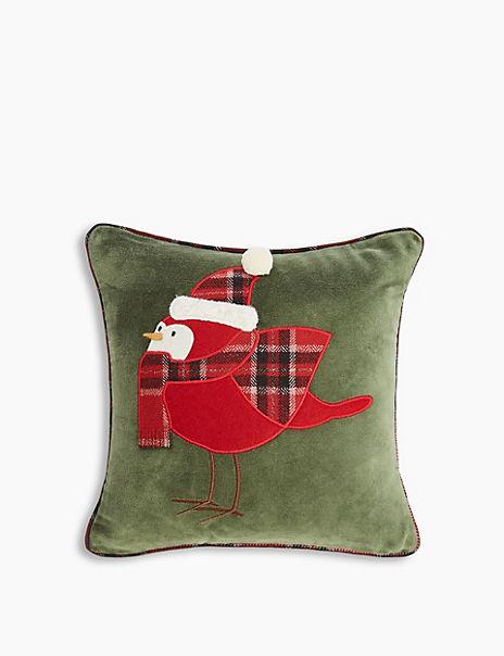 Velvet Robin Appliqué Cushion