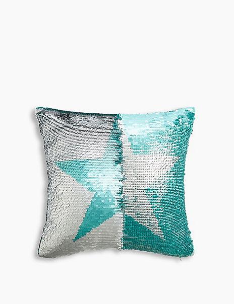 Reversible Sequin Star Print Cushion