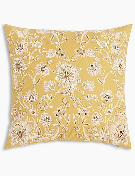 Ornamental Floral Embroidered Cushion