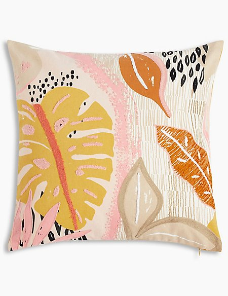 Print & Stitch Abstract Leaf Cushion