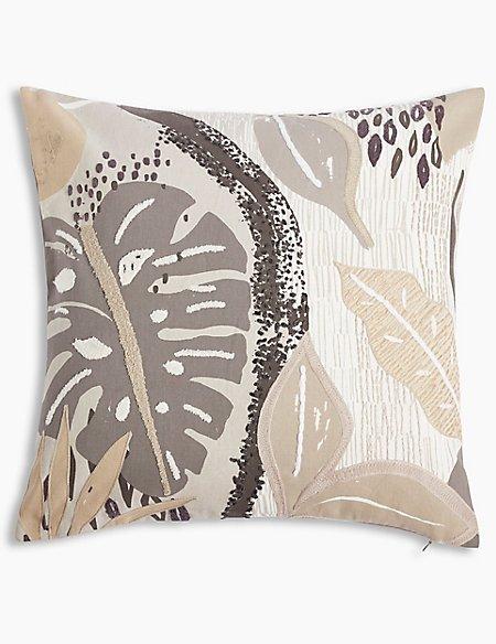 Print & Stitch Abstract Leaf Cushion