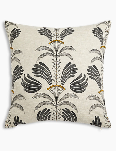Textured Decorative Palm Print Cushion