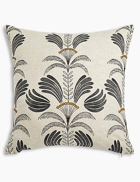 Textured Decorative Palm Print Cushion
