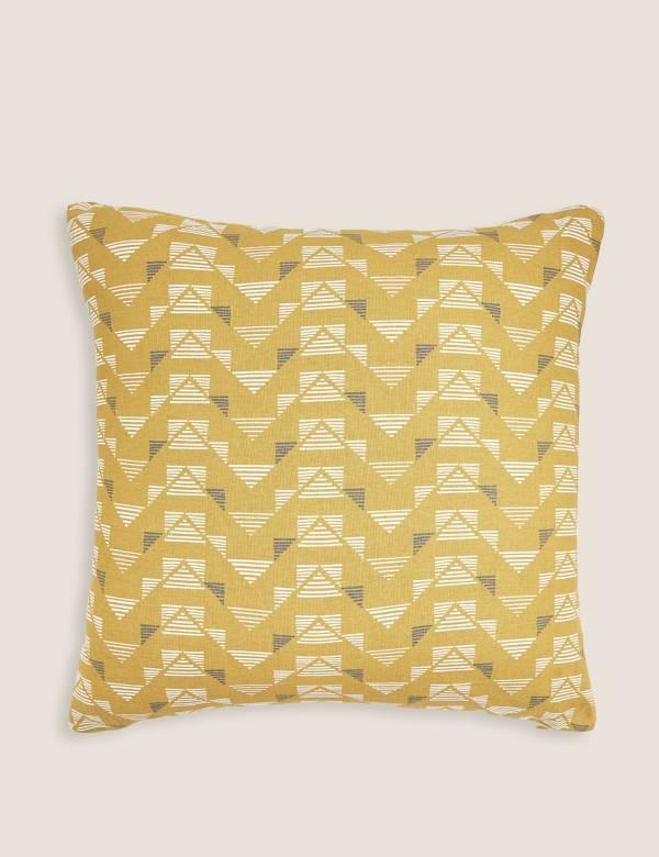 Pure Cotton Geometric Medium Cushion M S