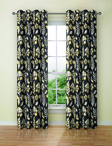 Modern Floral Print Eyelet Curtains