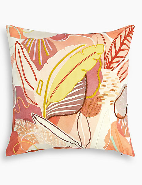 Cotton Foliage Print Cushion