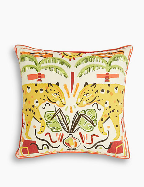 Cotton Embroidered Leopard Cushion