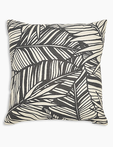 Cotton Palm Print Square Cushion