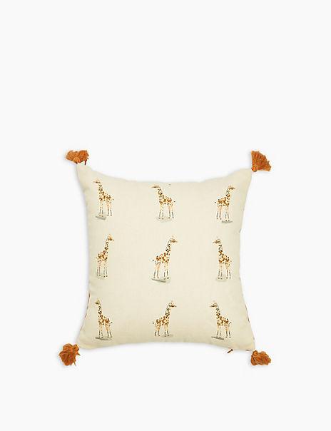 Cotton Mini Giraffe Embroidered Cushion