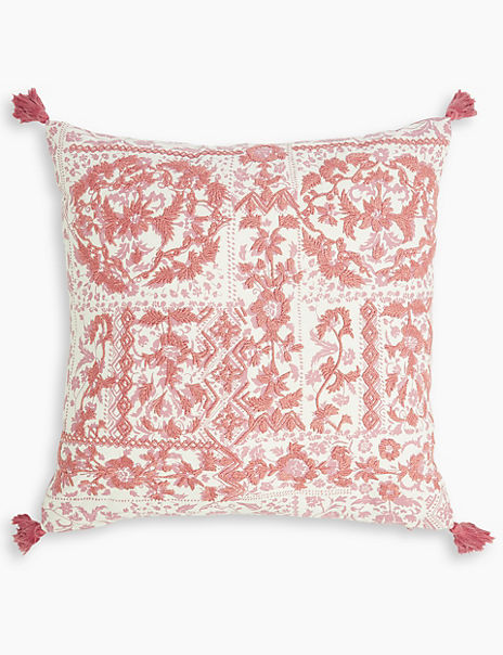 Cotton Tile Print Embroidered Cushion