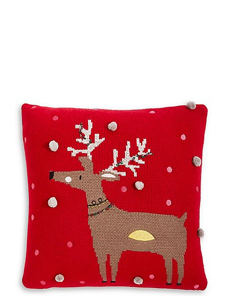 Reindeer Knitted Cushion