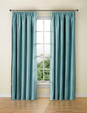 Textured Faux Silk Blackout Pencil Pleat Curtain
