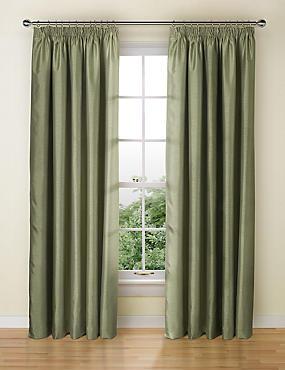 Textured Faux Silk Blackout Pencil Pleat Curtain