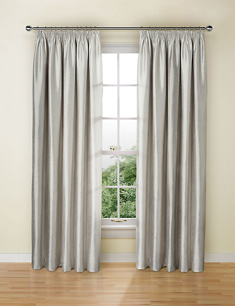 Textured Faux Silk Blackout Pencil Pleat Curtains
