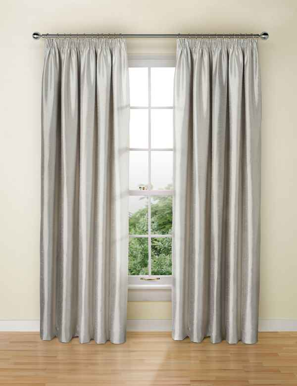 287fcd3b Textured Faux Silk Blackout Pencil Pleat Curtains