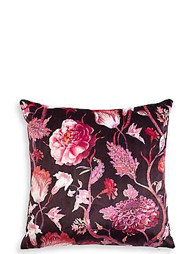 Velvet Statement Floral Square Cushion