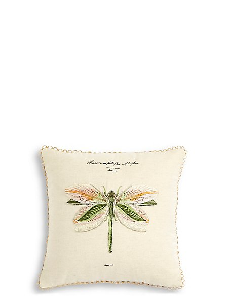 Dragonfly Embroidered Cushion