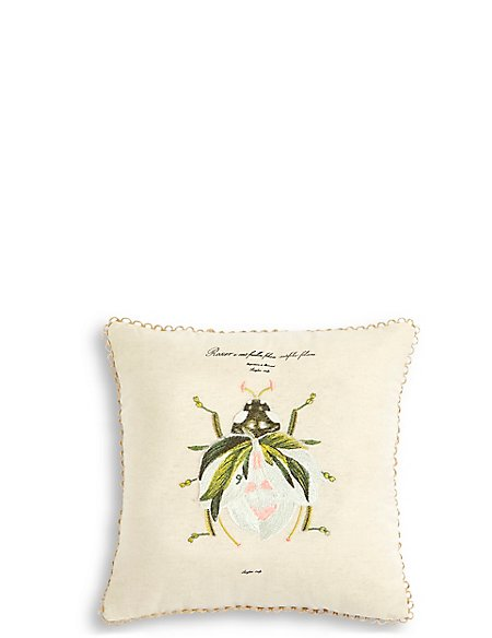 Ladybird Embroidered Cushion