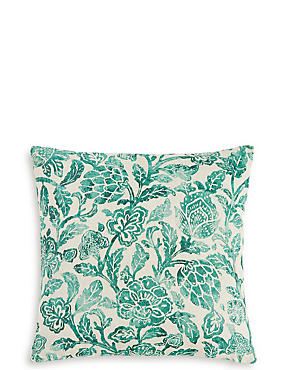 Distressed Floral Linen Cushion