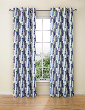 Abstract Striped Eyelet Curtains