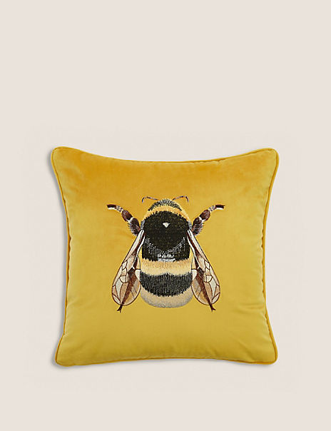 Velvet Bumblebee Print Cushion