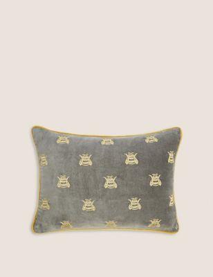 velvet-bumblebee-print-bolster-cushion by marks-&-spencer
