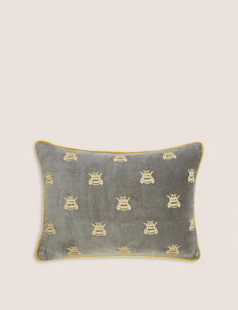Velvet Bumblebee Print Bolster Cushion