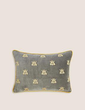 Sametový podhlavník zčisté bavlny smotivem včely