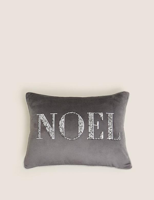 Sametový podhlavník Noel svyšíváním
