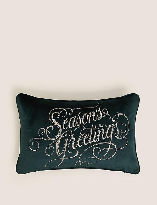 VelvetSlogan Embroided Bolster Cushion