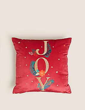 Velvet Joy Slogan Embroidered Cushion