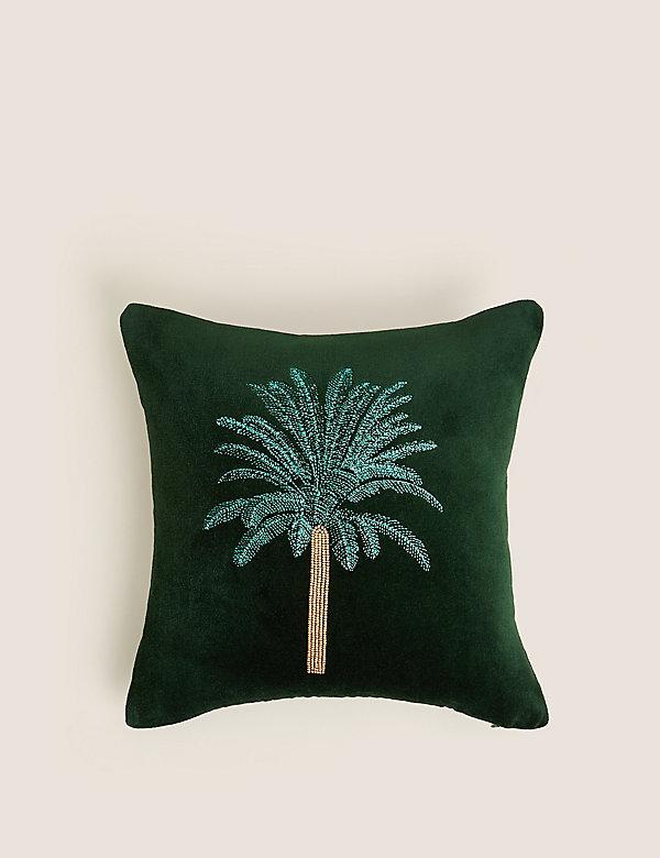 Bavlněný sametový polštář svýšivkou palmy