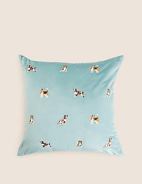 Velvet Dog Embroidered Cushion