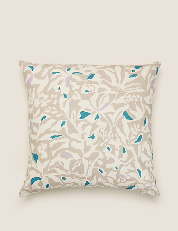 Pure Cotton Abstract Floral Cushion Cover