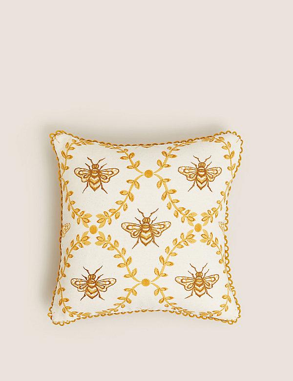 Bavlněný polštářek svýšivkou včely