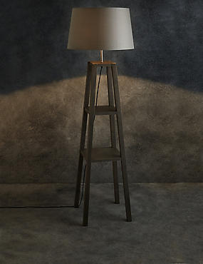 Theo Grey Wood Shelves Floor Lamp