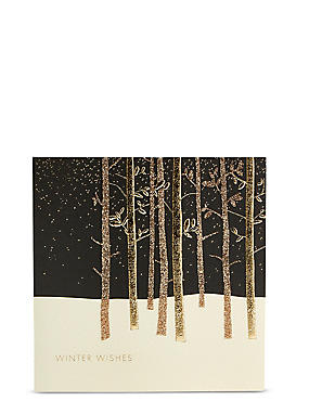 Gold Forest Christmas Charity Cards Pack of 15
