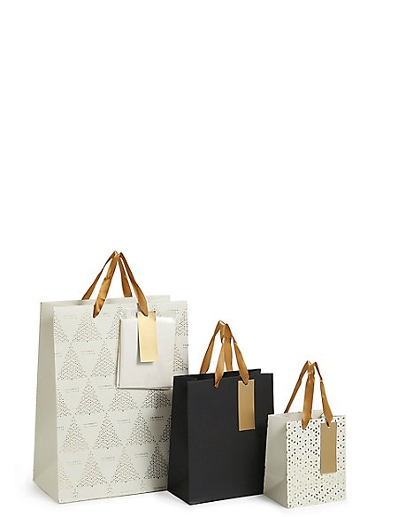 Gold Multipack Christmas Gift Bags
