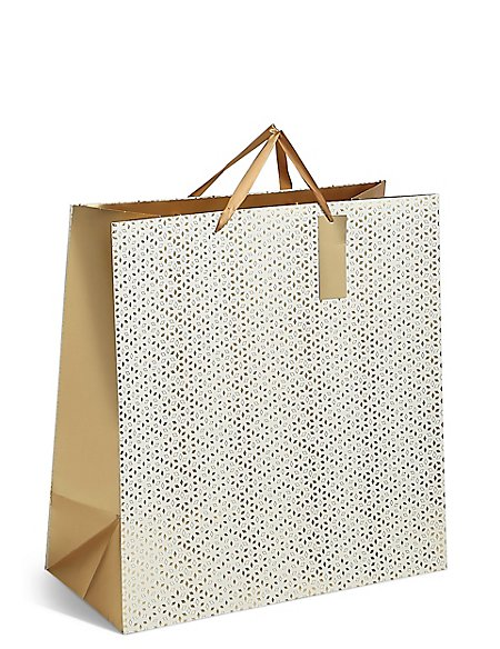 Gold Geometric Extra Large Christmas Gift Bag
