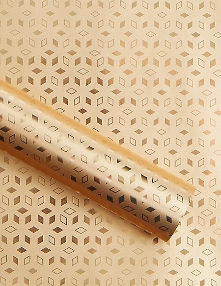 Gold Geo Christmas Wrapping Paper 3m