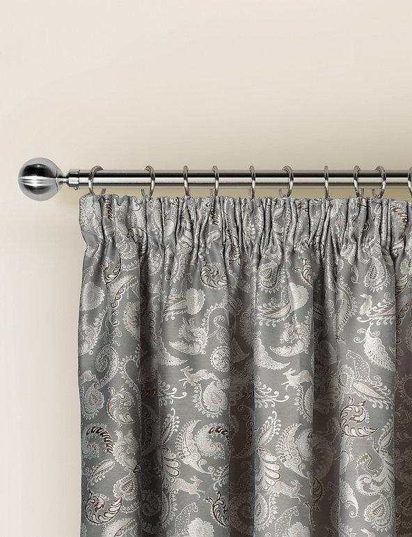 Paisley Jacquard Pencil Pleat Curtains   M&S