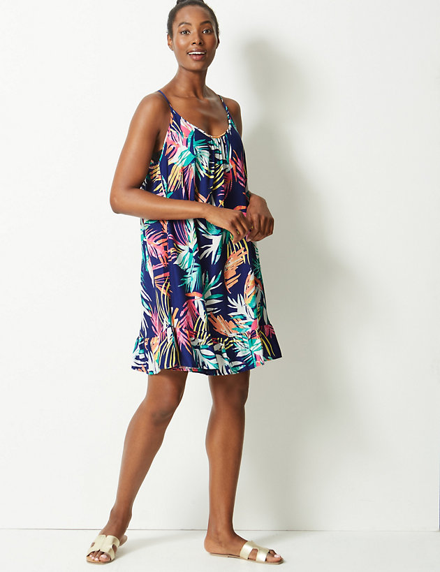 quality products new list various colors Palm Print Woven Flippy Slip Beach Dress | M&S Collection | M&S