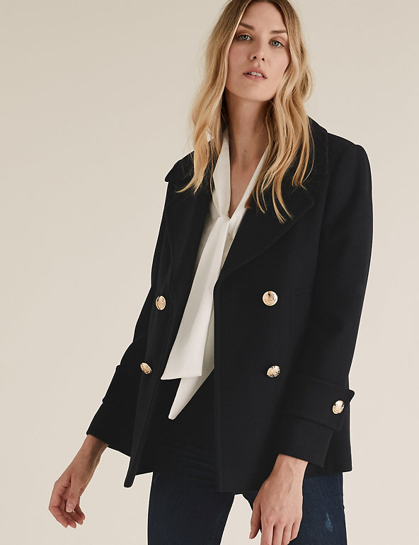 Pea Coat With Wool M S Collection, Womens Short Pea Coat Uk